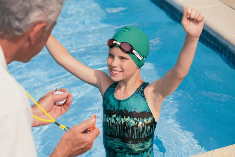 What is the average time for a female 10-year-old 50-yard freestyle?