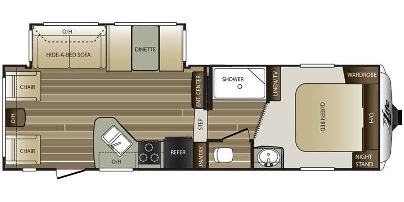 2016 Keystone Cougar 26RLS floor plan