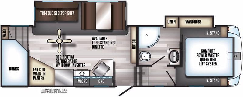2017 Cherokee Arctic Wolf 265DBH8 floor plan