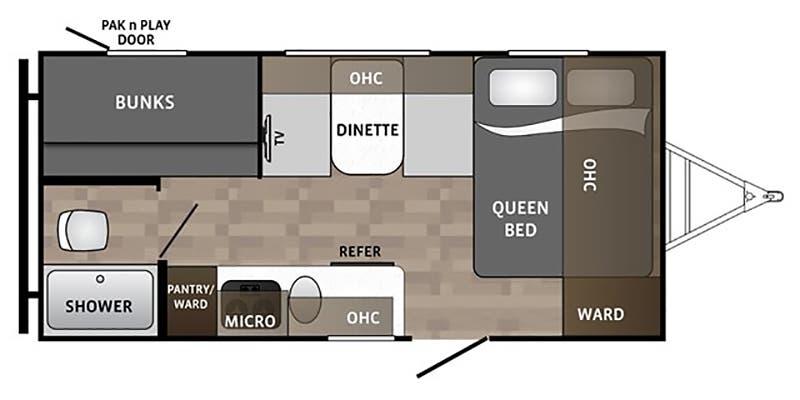 2018 Dutchmen Kodiak Cub 175BH floor plan