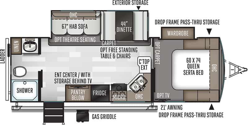 2018 Rockwood Ultra Lite 2606WS floor plan