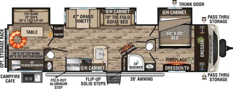 2018 SportTrek 343VBH floor plan