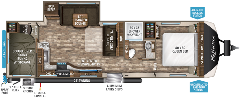 2019 Grand Design RV Reflection 285BHTS floor plan