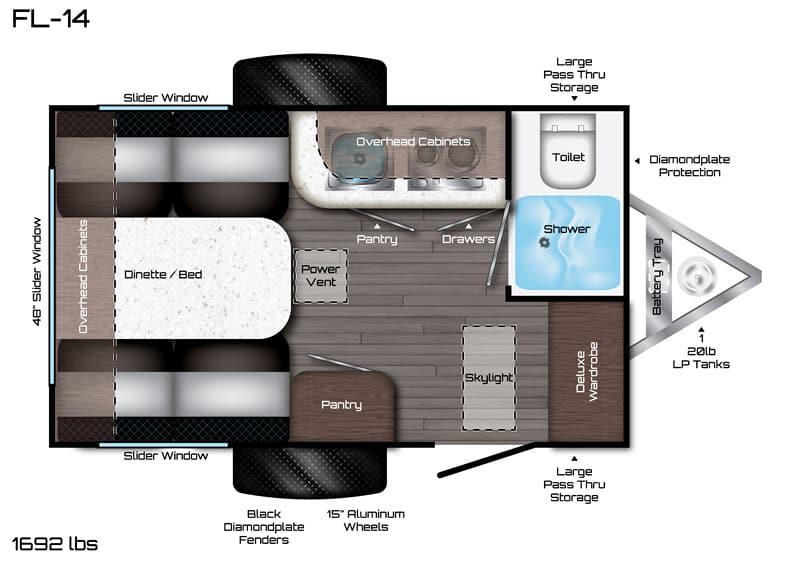2019 Travel Lite Falcon F Lite FL-14 floor plan