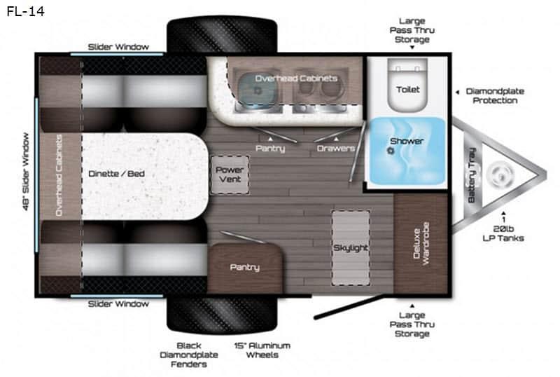 2019 Travel Lite Falcon F-Lite FL-14 floor plan
