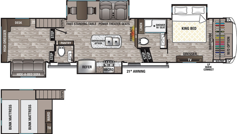 2020 Cedar Creek Silverback 35LFT floor plan
