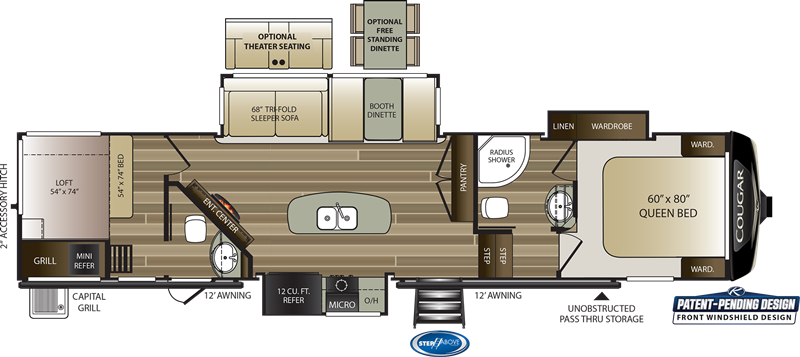2020 Cougar 364BHL floor plan