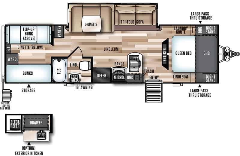 2020 Forest River 29BHHL floor plan