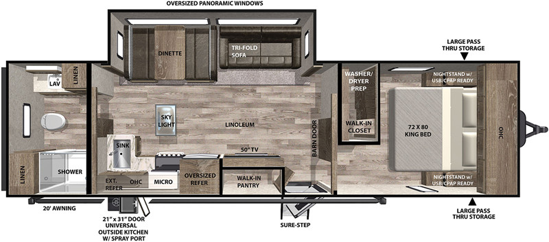 2020 Forest River Vibe 28RB floor plan