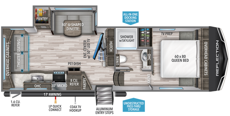 2020 Grand Design RV Reflection 150 Series 240RL floor plan
