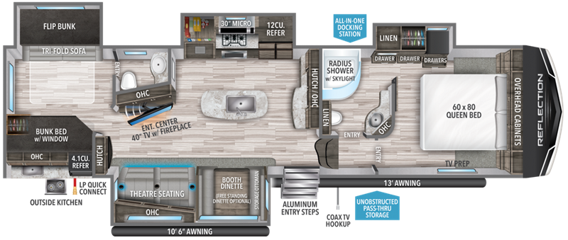 2020 Grand Design RV Reflection 311BHS floor plan