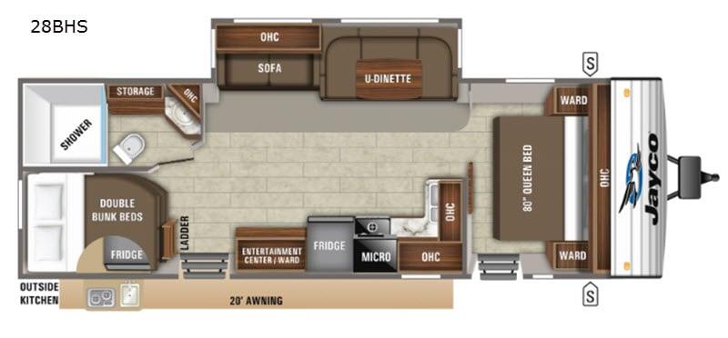 2020 Jayco Jay Flight 28BHS floor plan