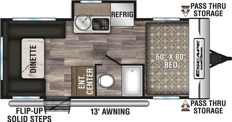 2020 KZ RV Escape 181RD floor plan
