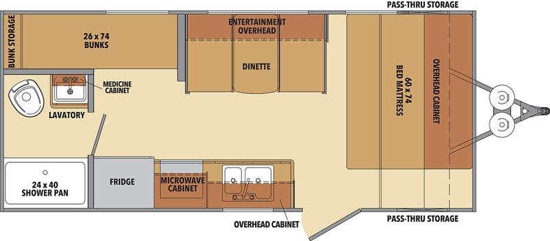 2020 Shasta 18BH floor plan