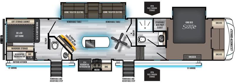 2021 Arctic Wolf 3770SUITE 2 Bedroom Fifth floor plan