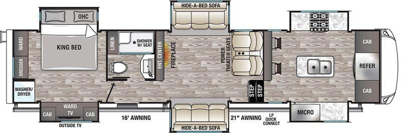 2021 Cedar Creek Champagne 38EFK floor plan