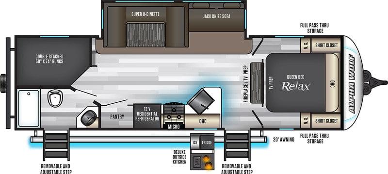 2021 Forest River Alpha Wolf 26DBH-L floor plan