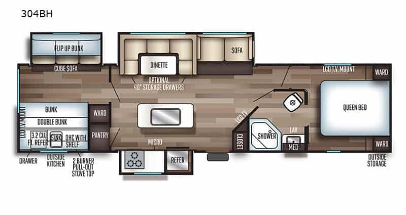 2021 Forest River Cherokee 304BH floor plan
