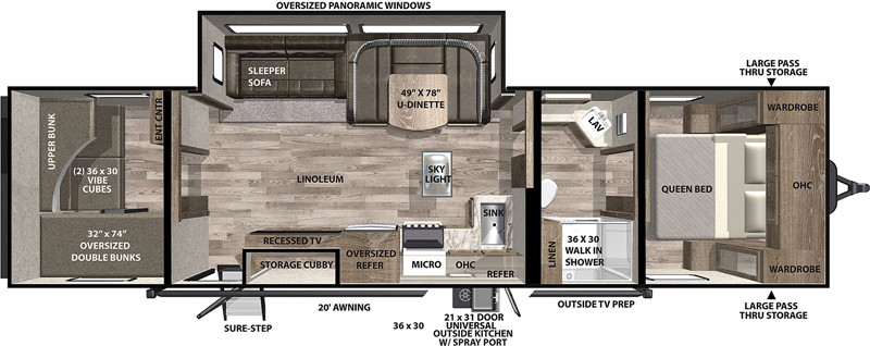 2021 Forest River Vibe 28BH floor plan