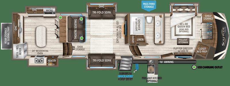 2021 GRAND DESIGN SOLITUDE 390RK floor plan