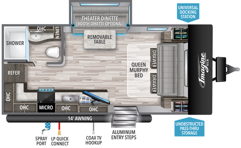 2021 Grand Design RV Imagine XLS 17MKE floor