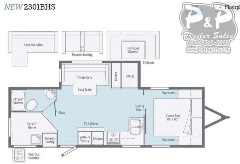 2021 Winnebago Minnie 2301BH floor plan