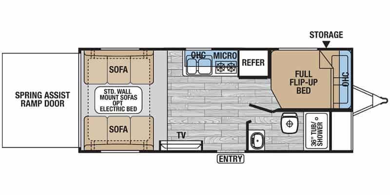 2017 Forest River XLR Hyperlite 18HFS floor plan