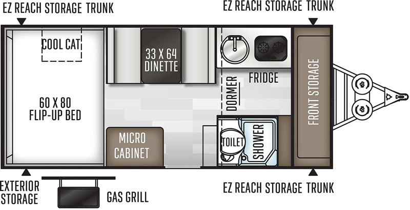 2019 Forest River Rockwood A214HW floor plan
