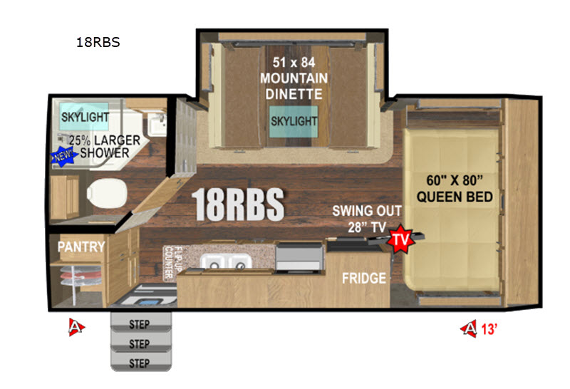 2019 Outdoors RV Creek Side 18RBS floor plan