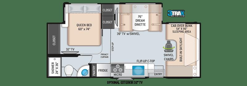 2019 Quantum RC 25 Class C floor plan