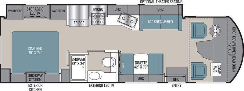 2020 Coachmen Mirada 29FW floor plan