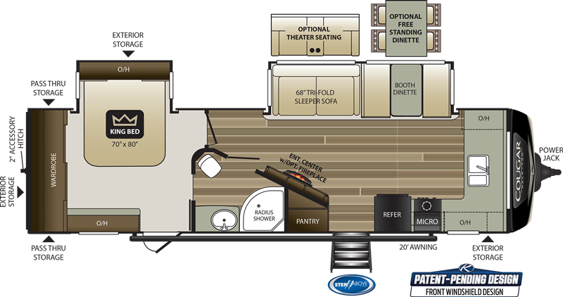 2020 Cougar 29FKD floor plan