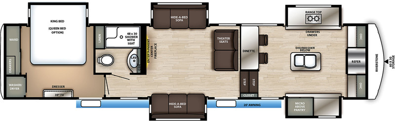 2020 Forest River Riverstone 39FK floor plan