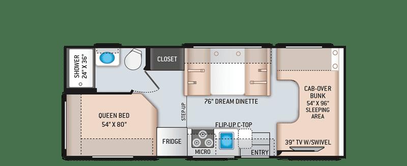 2020 Freedom Elite 22HEC floor plan