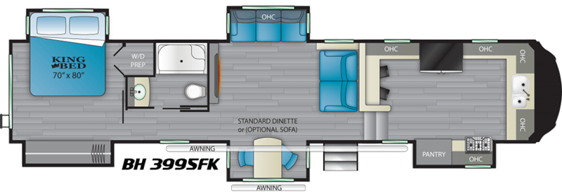 2020 Heartland Bighorn 3995FK floor plan