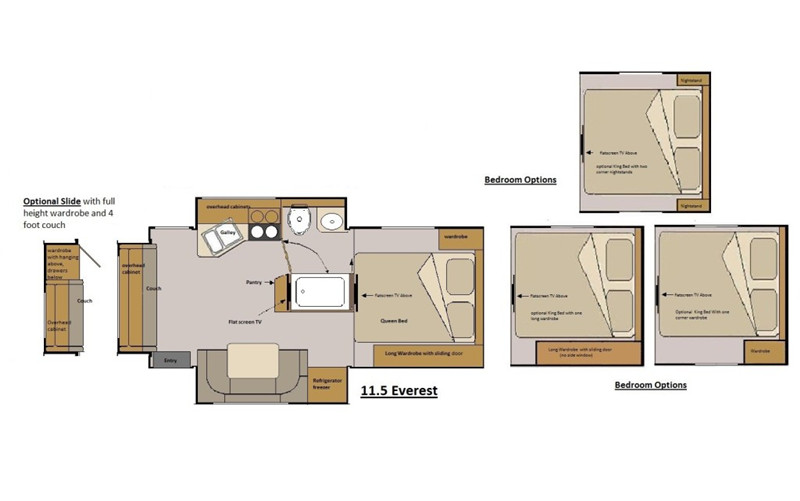 2020 Host Everest 11.5 Triple Slide Truck Camper floor plan