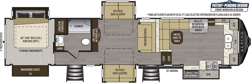 2020 Keystone Alpine 3801FK floor plan