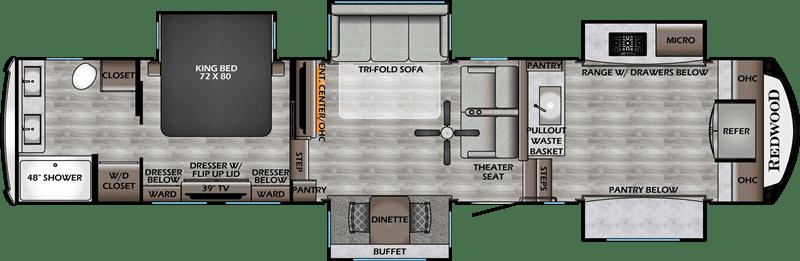 2020 Redwood RW3981FK floor plan