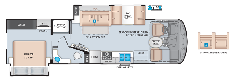 2020 Thor Hurricane 32T floor plan