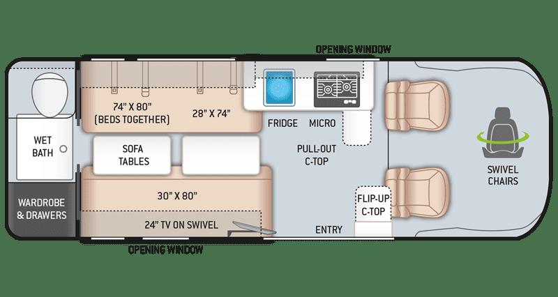 2020 Thor Tellaro 20LT floor plan