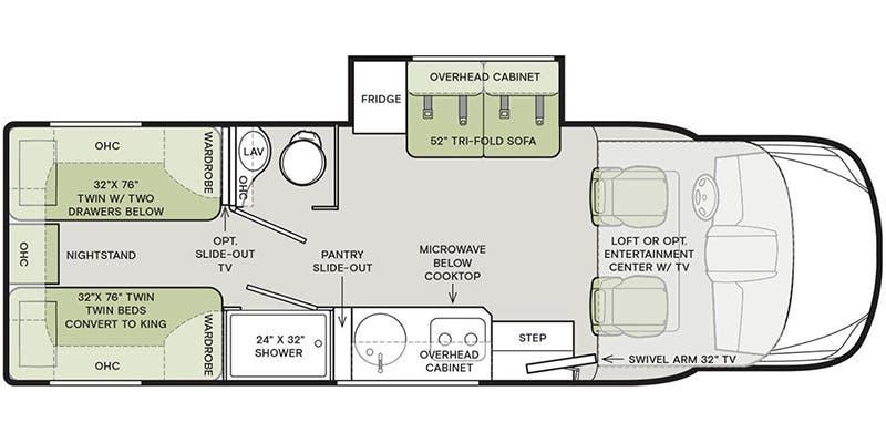 2020 Tiffin Wayfarer 24TW floor plan