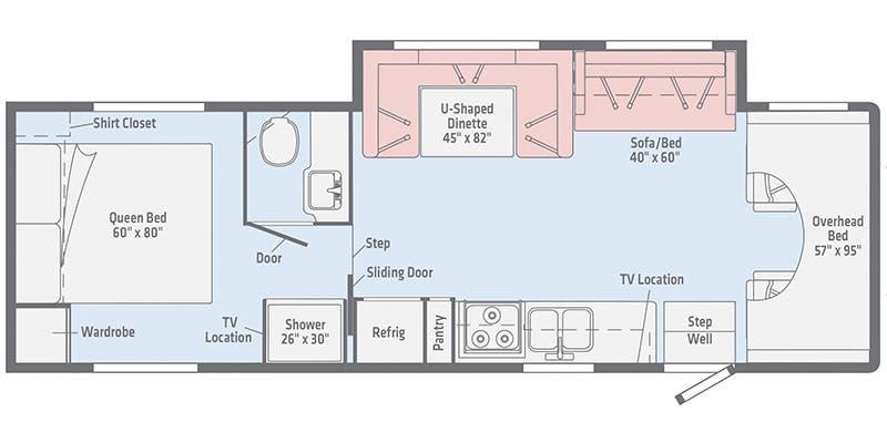 2020 Winnebago Minnie Winnie 31K floor plan