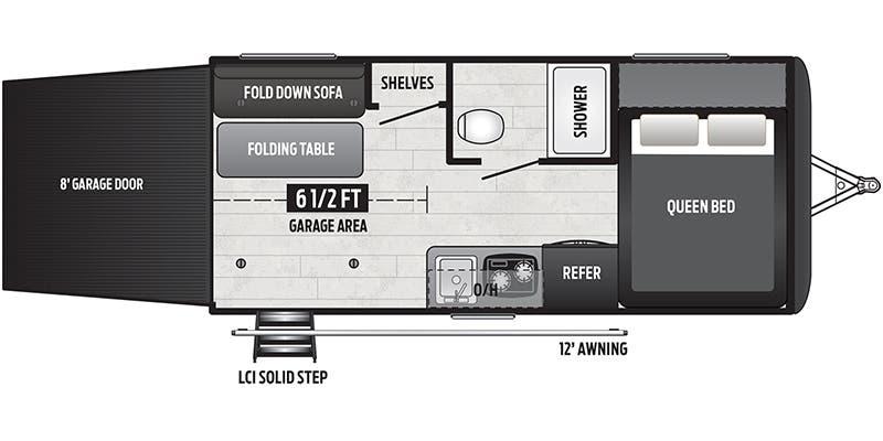 2020_Keystone_Hideout_172LHS floor plan