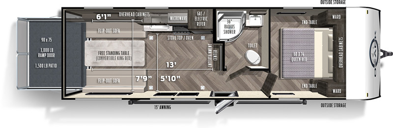 2021 Forest River Ozark 2500TH floor plan