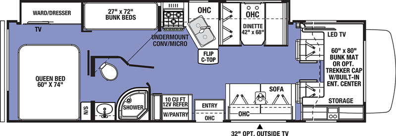 2021 Forest River Sunseeker 3270S floor plan